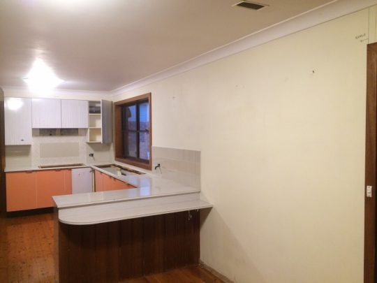 Kitchen with Asbestos Walls Removed